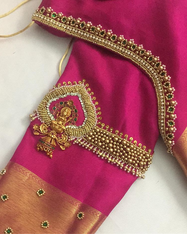 Hand embroidery and blouse stitched by qstylehairnbeauty amman pendant jewellery from bharathyjewels also latest checks pattern work designs for rh pinterest