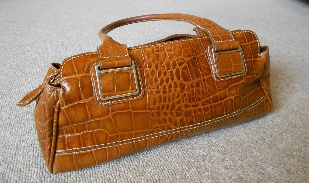 Wilson Leather Purse Caramel Tan Croco Embossed Two Straps