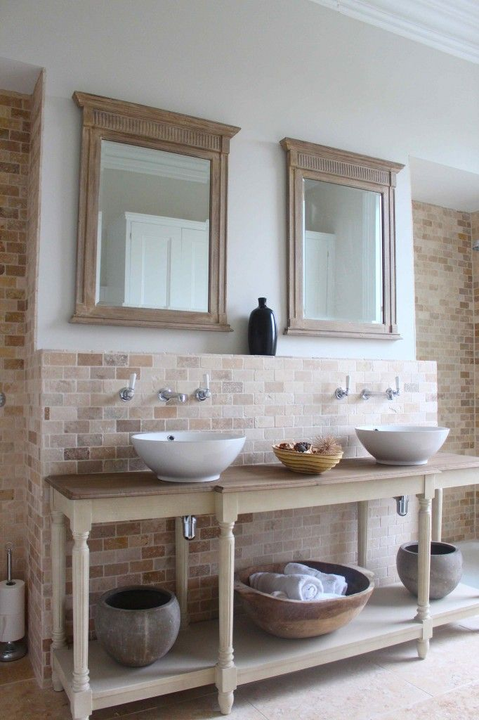 Rustic Bathroom Makeovers french rustic bathroom: hall table as vanity unit with wash basins