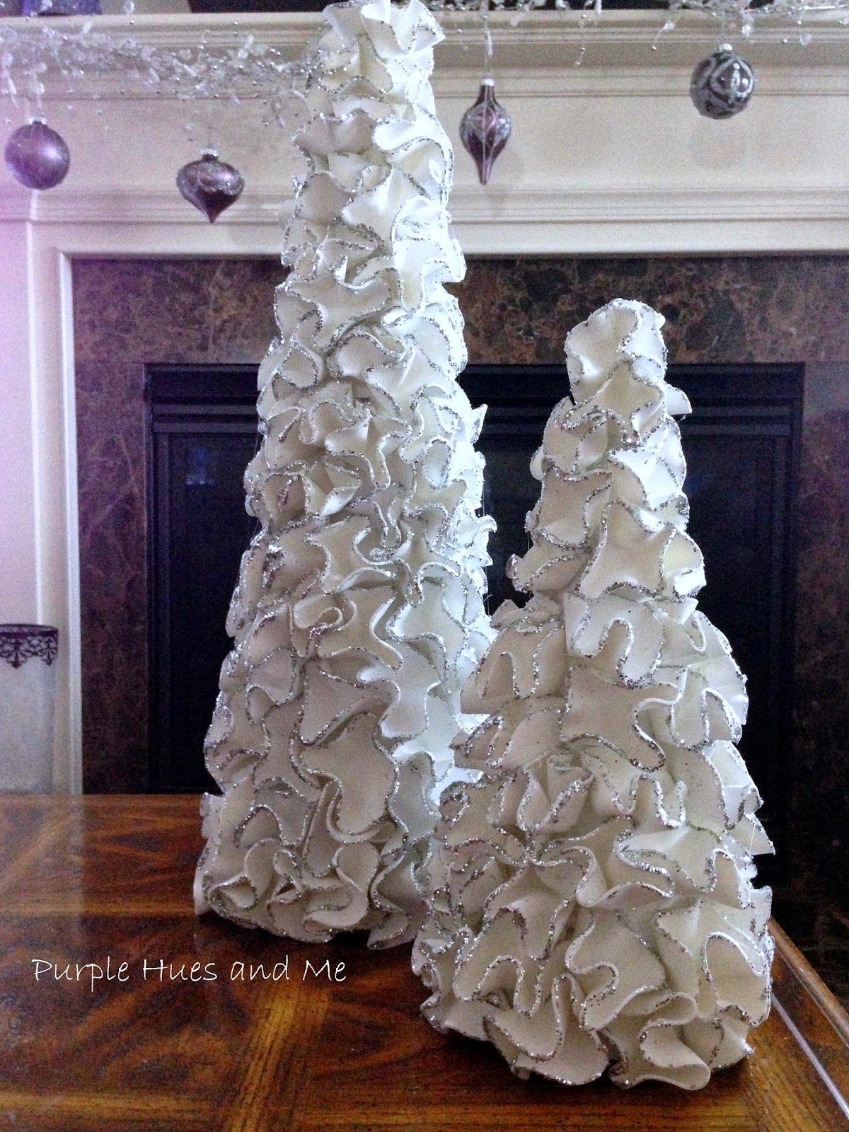 Purple Hues And Me Ruffled Foam Sheets Glitter Christmas Tree Cones Foam Circles Are Iron Melted To Hold The Ru Cone Christmas Trees Christmas Diy Cones Diy