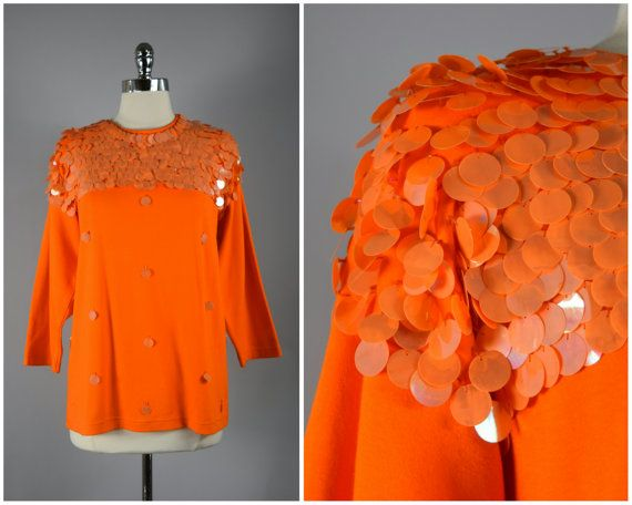 vintage 80s orange disc sequin knit jersey by PinkhamRoadRetro