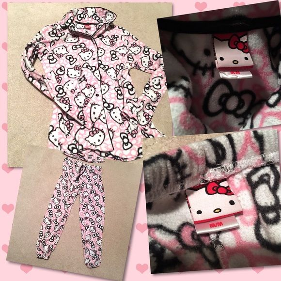 Hello Kitty UBER-soft PJs Medium Seriously may be THE softest most cuddly things you will ever put on your body. Sz medium; will fit larger small too (6-8) - perfect condition, worn maybe twice and they've always been on the smaller side. These are the more expensive HK-branded pieces from Nordy - not the cheap shiz from low-end chain stores. Happy Poshing! Hello Kitty Intimates & Sleepwear Pajamas
