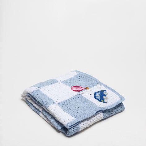 Manta croch quadrados e bal es mantas cama zara for Zara home mantas