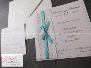 Partecipazioni Matrimonio Color Tiffany.Elegante Partecipazione Matrimonio Con Fascia Laterale Realizzata