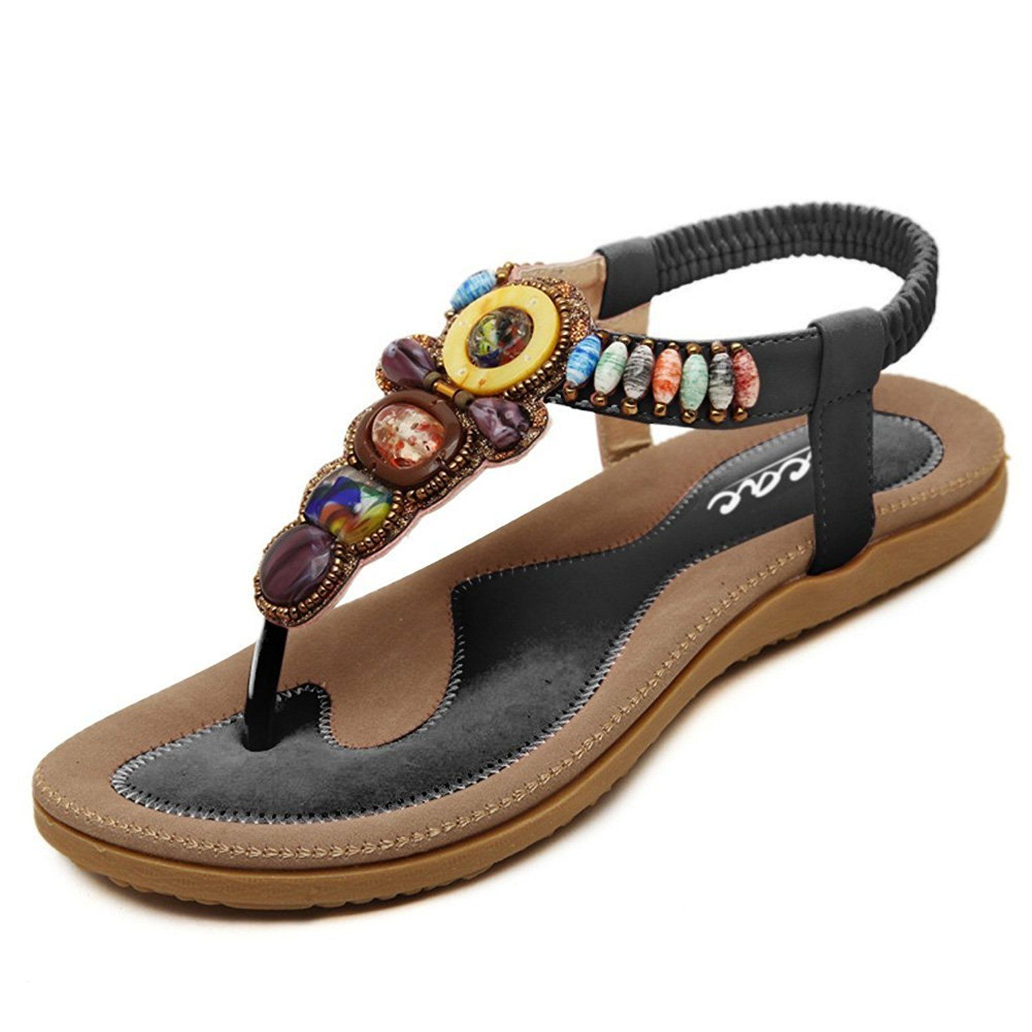 c0c7a6727 Zicac Women s Bohemian Thong Sandal Elastic Back Strap Clip Toe Flats  Sandals With Beads    Find out more about the great product at the image  link.