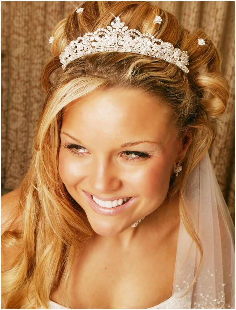 wedding hairstyles half up with tiara and veil | dresses for