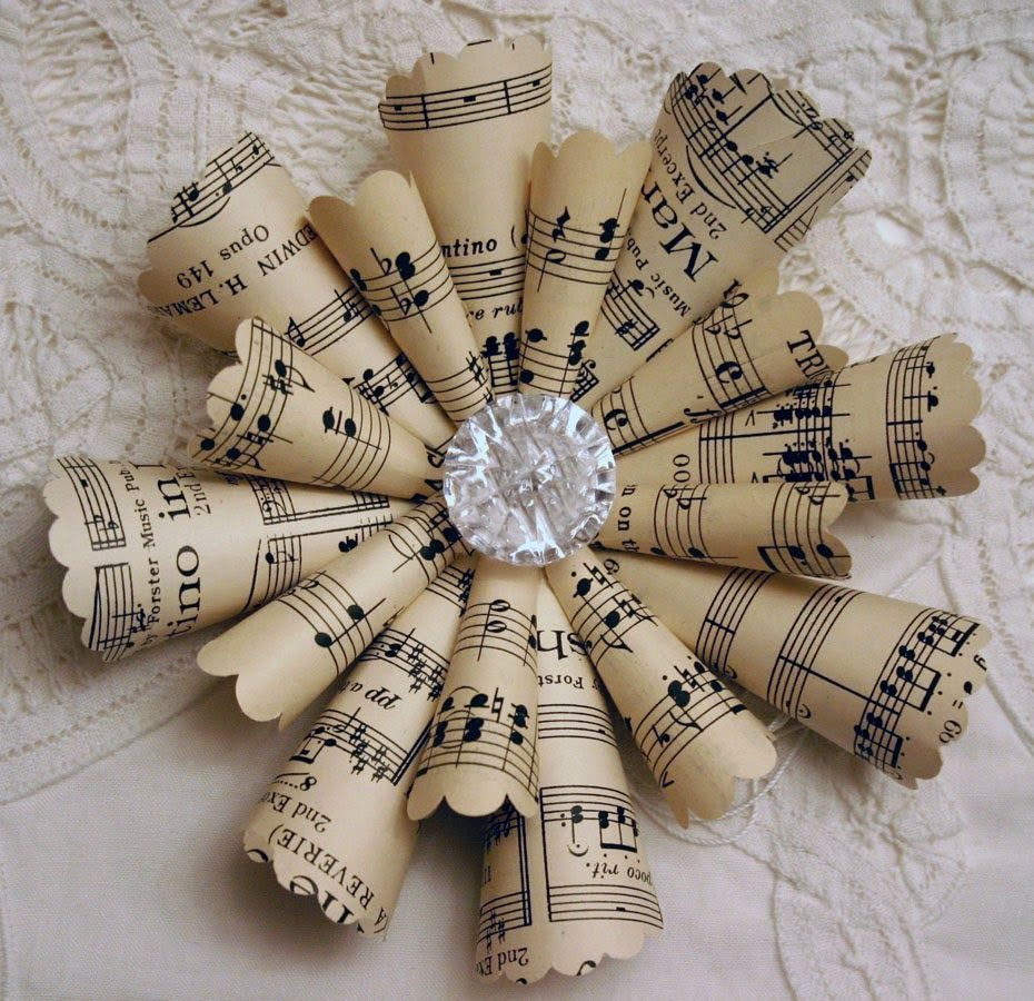 Christmas music ornaments - Vintage Christmas Ornaments Made From Sheet Music And Scrapbook Embellishments Description From Pinterest Com