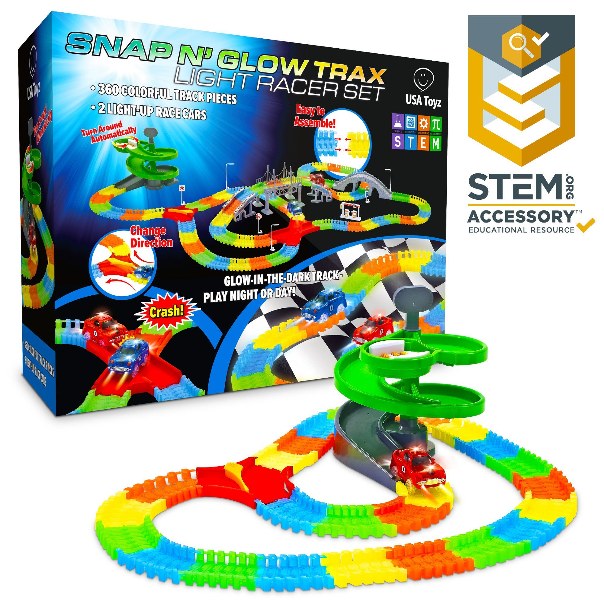 Toy Car Glow Race Track 360 Pc Snap N Glow Trax In 2020 Toy Car Track Toy Trax