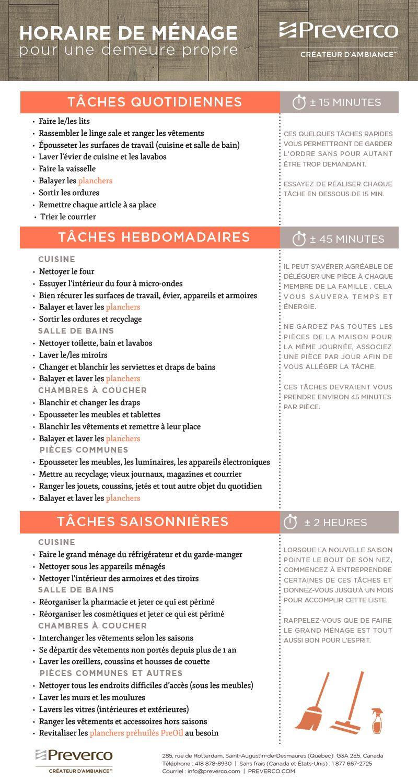 L Horaire De Menage Selon Preverco Planning De Nettoyage Planning Tache Menagere Organisation Menage