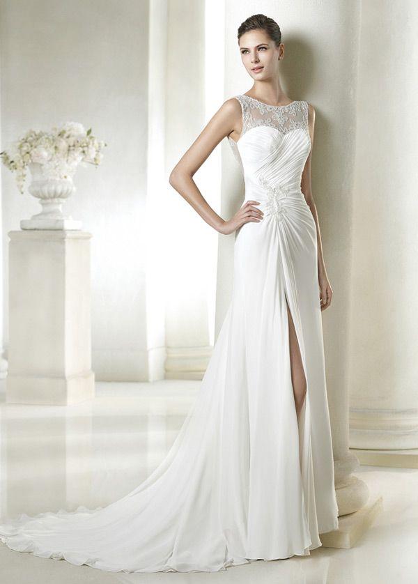 vestido+de+novia+sencillo+gasa+apertura+frontal+verano+natural+