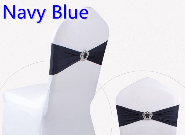 Navy blue colour Crown buckles lycra sash for wedding chairs