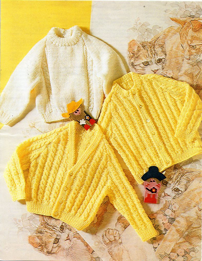 Vintage baby cable cardigans sweater knitting pattern PDF DK cable ...