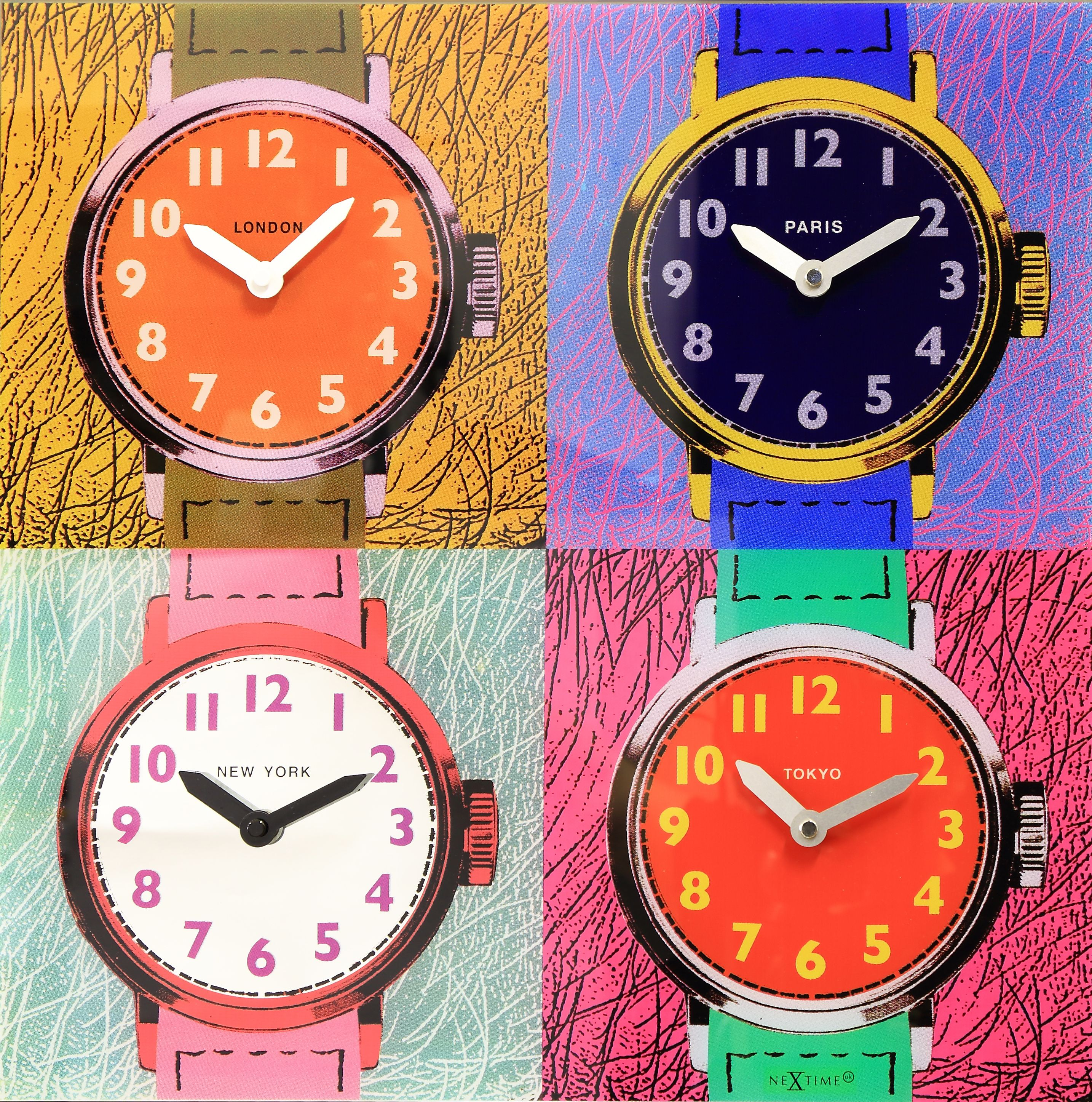 The Nextime Time Zones Clock Takes A Lot Of Influence From The Works Of  Andy Warhol And Makes An Impressive World Time Clock! This Designer Pop Art  Glass ...