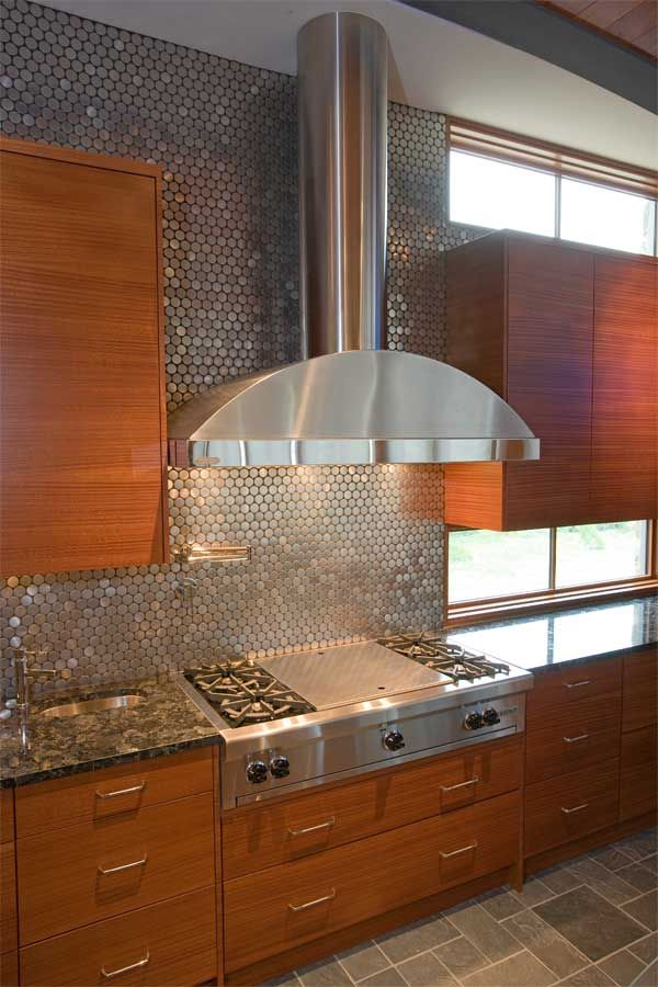 Charmant Reflective, Metallic Kitchen Backsplash Tile   Stainless Steel Penny Round  Metal Mosaic Tile Https://www.tileshop.com/product/667683 P.do | Pinterest  ...