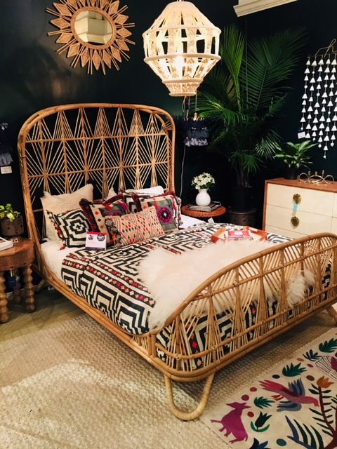 Check out Justina Blakeney's new bohemian style designs for your home. Peacock chair, dramaitc bed, bedding and more. Rattan furniture is really hot.