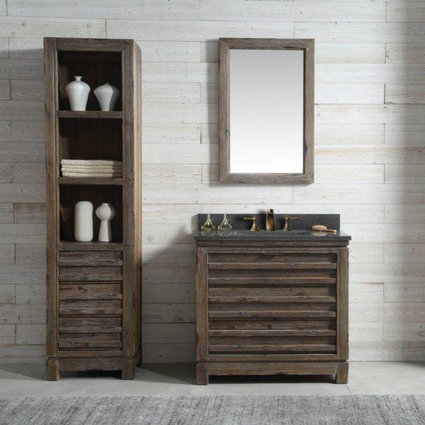 36 Inch Distressed Wood Bathroom Vanity Moon Stone Countertop Wood Bathroom Vanity Reclaimed Wood Bathroom Vanity Furniture Vanity