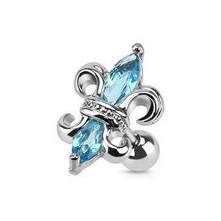 Aqua Gem Fleur De lis Cartilage Earring