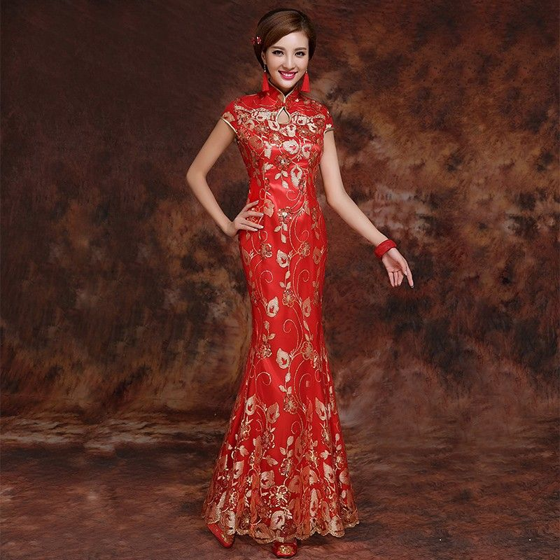Red Brocade Gold Sequins Appliques Keyhole Neck Mermaid Chinese ...