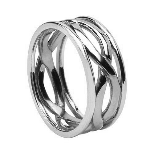 Celtic Wedding Ring 14k White Gold Unique Mens Wedding Band Recycled Gold Celtic Knot Ring Love Knot Rin Celtic Wedding Rings Mens Wedding Bands Love Knot Ring