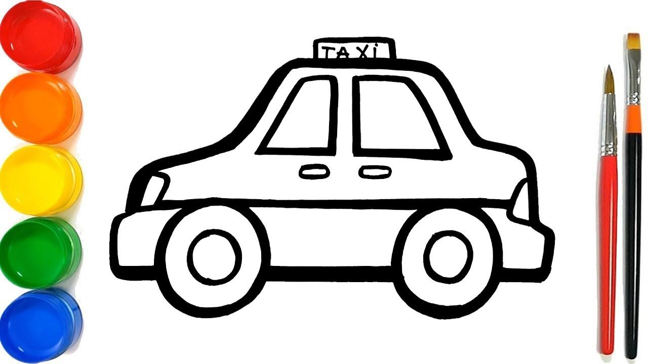 Glitter Taxi Coloring Pages For Kids Taksi Halaman Mewarnai