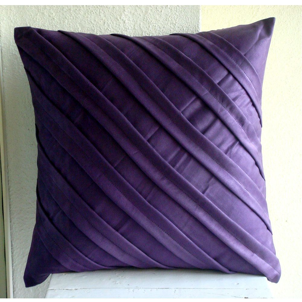 Handmade Purple Pillows Cover X Faux Suede Pillow Covers - Purple decorative bedroom pillows