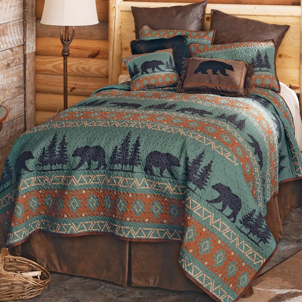 High Mountain Bear Quilt Set Queen Quilt Sets Queen Bear Quilts Quilt Sets