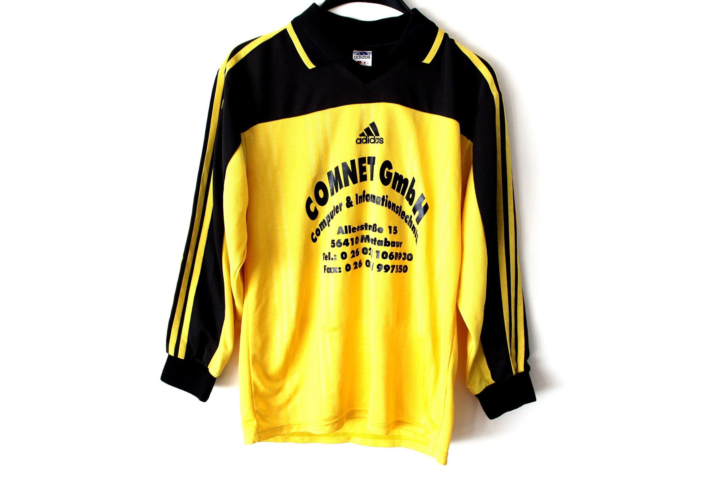 Yellow Black Adidas Football Shirt Made in UK Vintage | Etsy ...