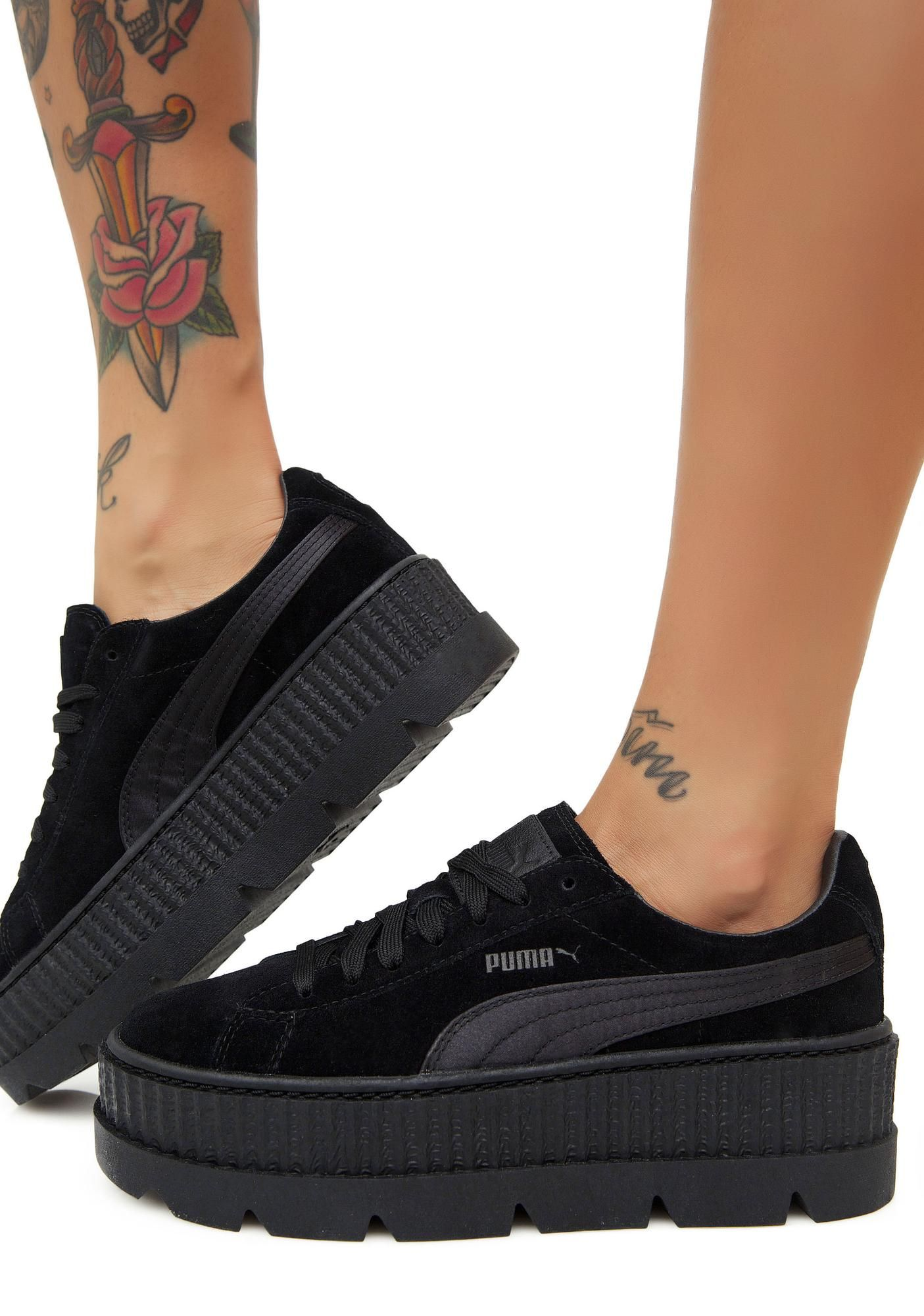 d42cca88d17de3 PUMA Onyx FENTY PUMA by Rihanna Cleated Suede Creepers will take ya up a  notch. These sikk black platform creeper sneakers have supa thikk cleated  soles and ...