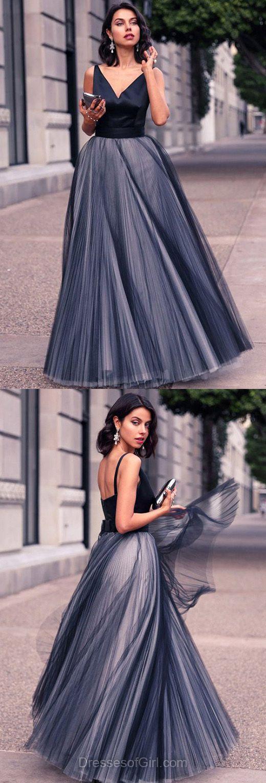 Black prom dress tulle prom dresses princess evening dresses v