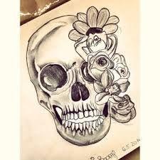 Resultado De Imagen Para Calavera Con Flores En Los Ojos Dibujos
