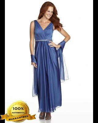 Patra 12105 Ruched Bodice Chiffon Dress with Rhinestone Waist and Matching Wrap