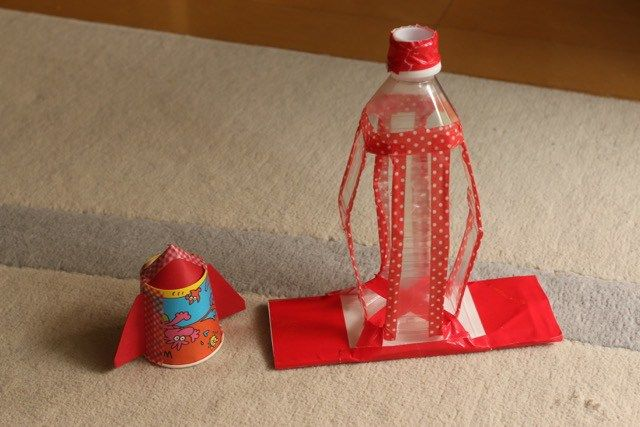 ペットボトルのロケット発射台 ひらめき工作室 ペットボトルロケット 手作りおもちゃ ペットボトル 手作りおもちゃ