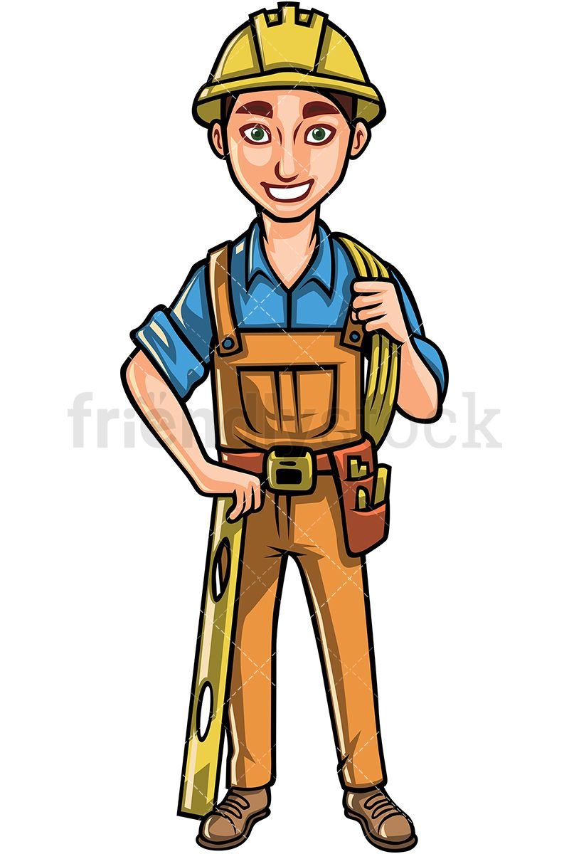 Construction Worker With Hard Hat Cartoon Vector Clipart Friendlystock Male Cartoon Characters Cartoons Vector Construction Worker