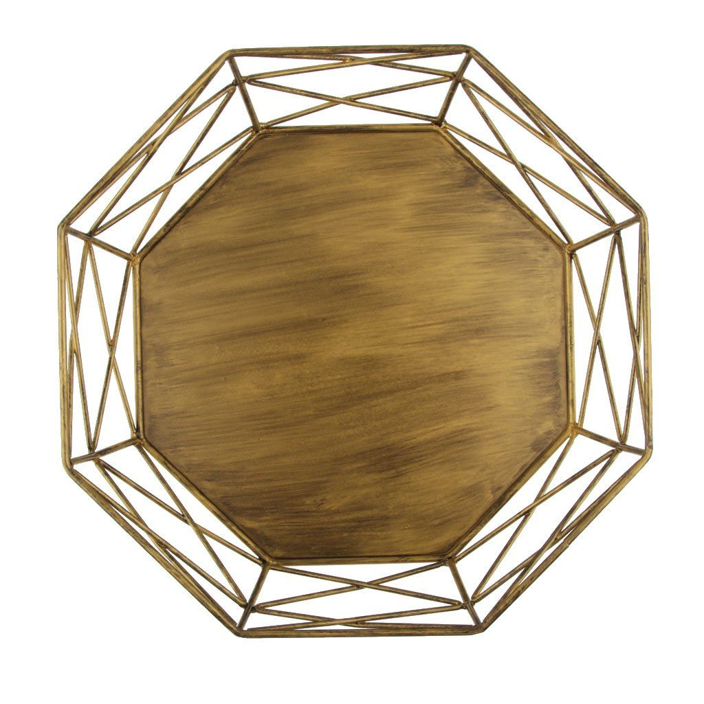 Geometric wrought iron goldsilver cake stand for wedding