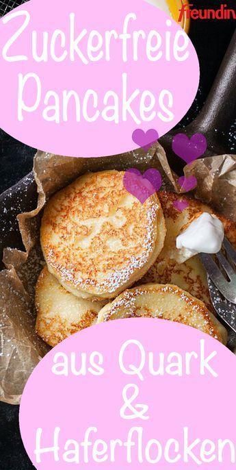 Rezept: Zuckerfreie Pancakes aus Quark und Haferflocken #recipes