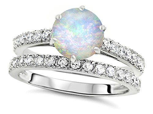 star k round 7mm simulated opal wedding ring sterling sil - Opal Wedding Ring