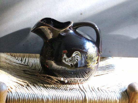 dark brown glaze redware pottery vintage by OutAndAboutVintageII