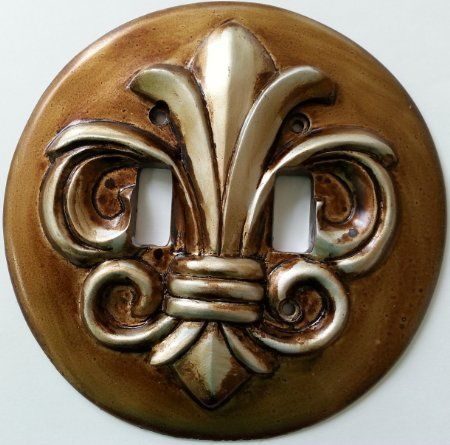 Round Fleur De Lis Two Tone Double Toggle Light Switch Plate Cover Switchplate