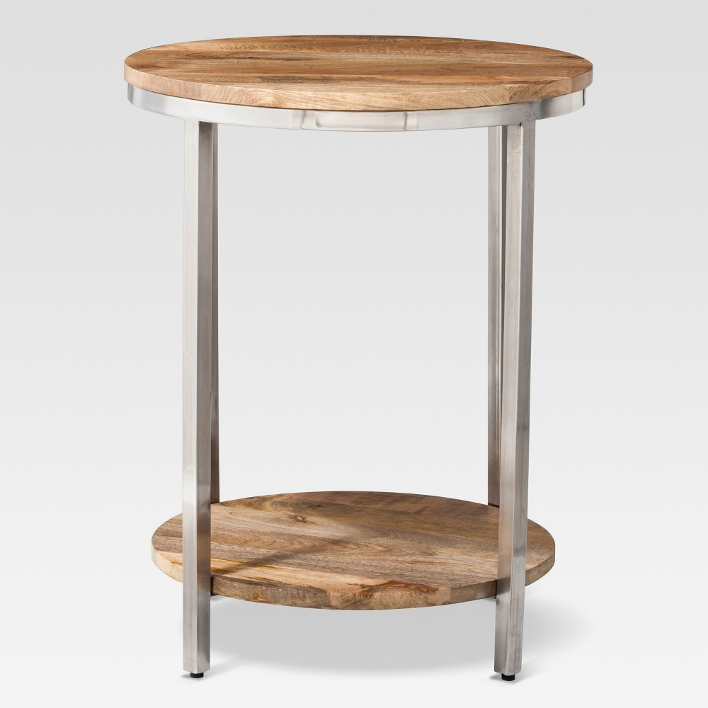 Berwyn Large Round End Table Metal And Wood Brown Threshold Target End Tables Cheap Living Room Furniture Round Metal Coffee Table [ 1000 x 1000 Pixel ]