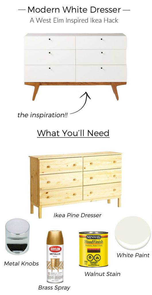 Modern White Dresser A West Elm Inspired Ikea Hack Ikea Kommode