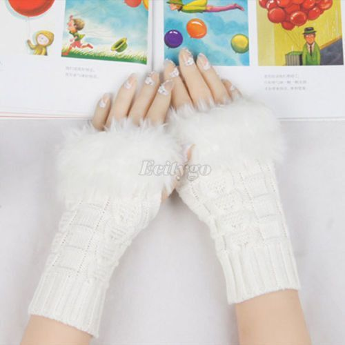 New Women Knitted Fingerless Wrist Hand Warmer Faux Rabbit Fur Warm Gloves Mittens 10 Colors