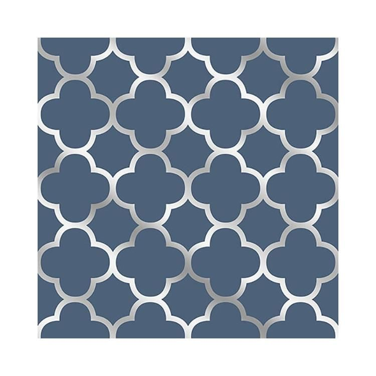 Brewster2625-21855 | Symetrie Blue Origin Blue Quatrefoil Wallpaper - A Street PrintsAdditional Colors Below