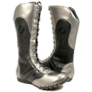 Metallic Silver Floral Women s Wrestling Boots.  468a7eded