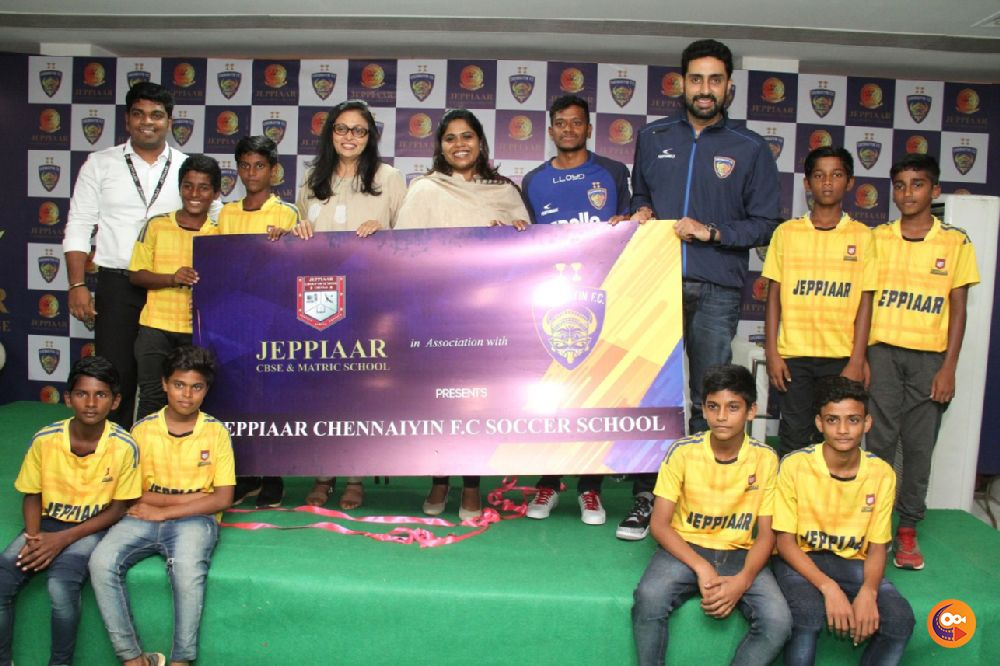 Actor Abhishek Bachchan launched Chennaiyin FC Soccer School at Jeppiaar Engineering College