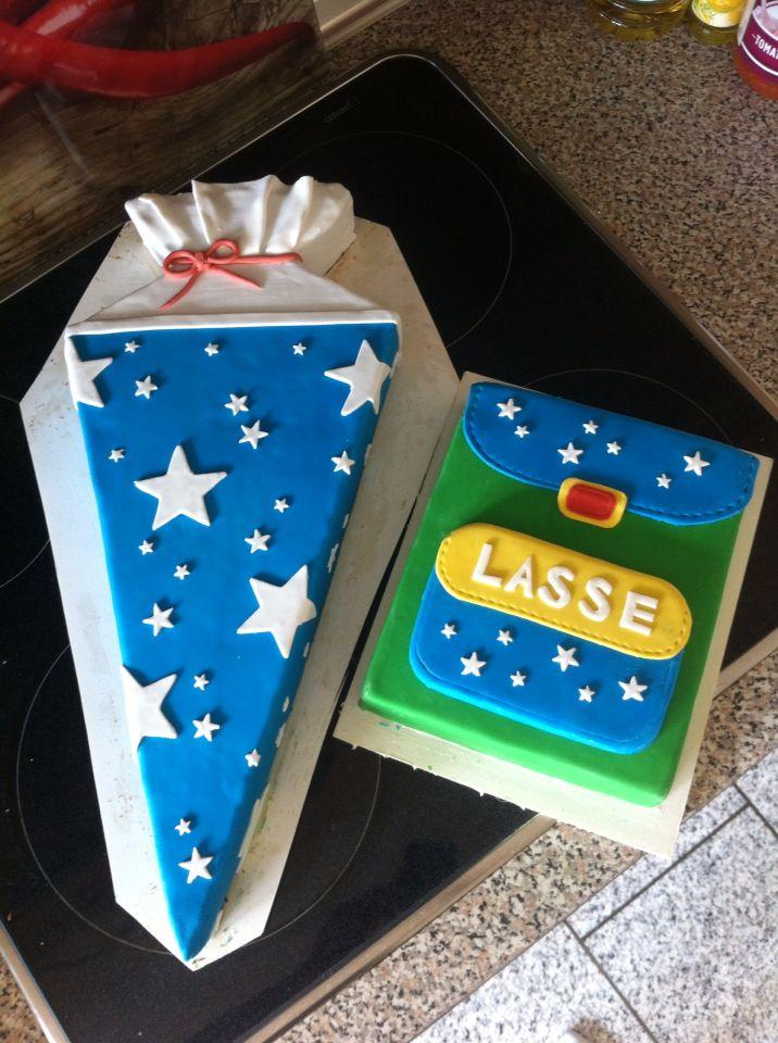 Fondant Torte Zur Einschulung Schultute Und Rucksack School Cake Fondant Kids Cake