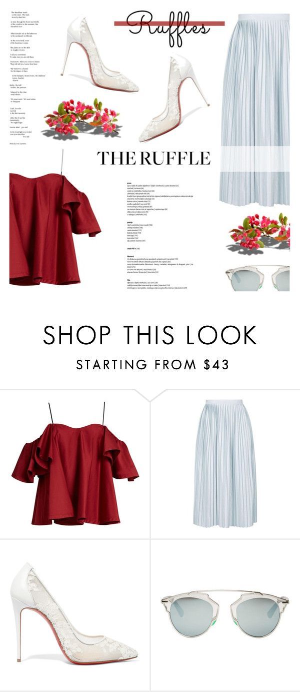 """""""All Ruffled Up"""" by antemore-765 ❤ liked on Polyvore featuring Anna October, Topshop, Christian Louboutin, Barneys New York, Christian Dior and ruffles"""
