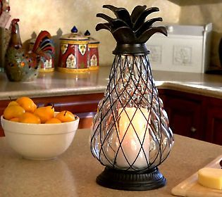 The pineapple has long been a symbol of welcome and I am loving it re-imagined as a gorgeous flameless candle.