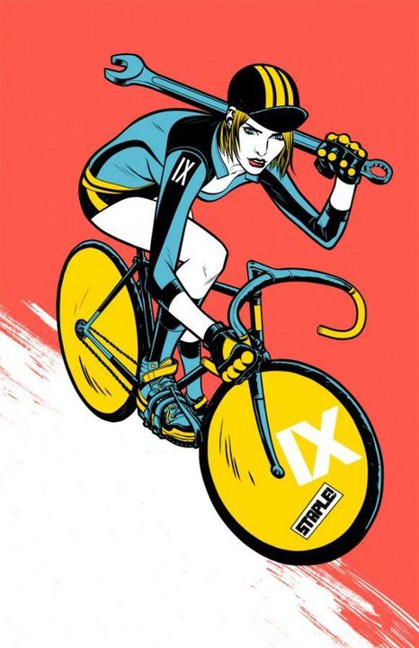 98d89b4228 FIXED GEAR GIRL TAIWAN woman on bicycle illustration | Bicycle ...