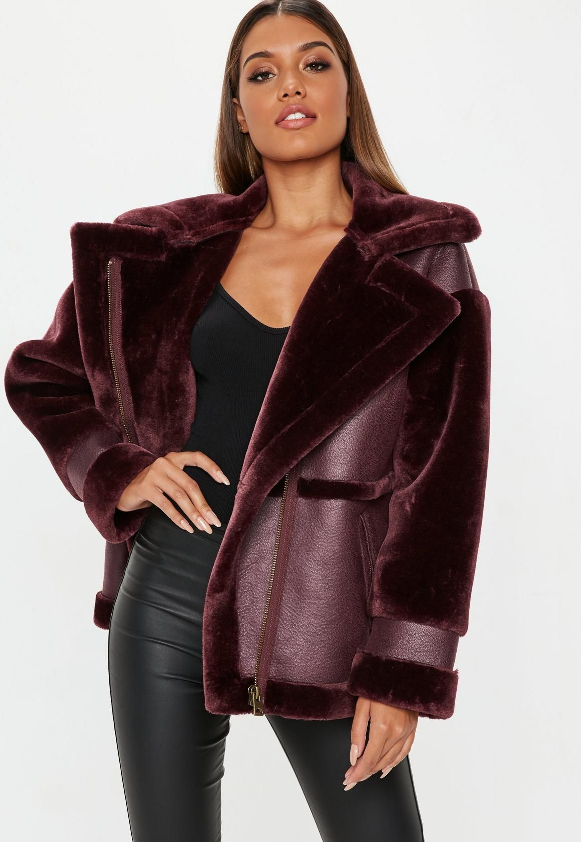 Wine Faux Fur Sleeve Aviator Jacket Aviator jackets