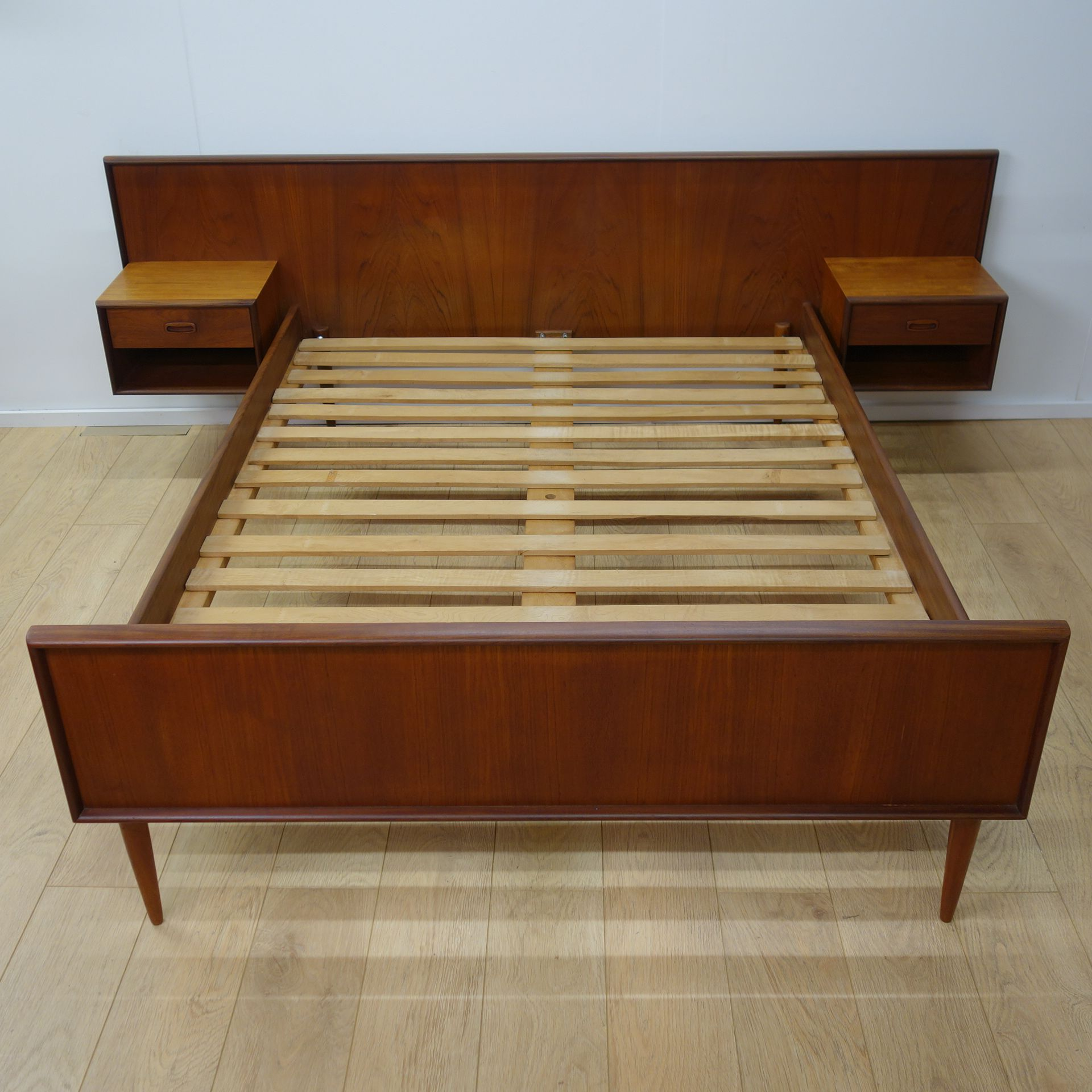 Scandinavian Teak Bedroom Furniture Mid Century Danish Teak Bed With Night Stands Furniture
